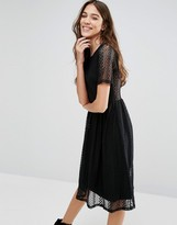 Wal G Lace Sleeve Skater Dress