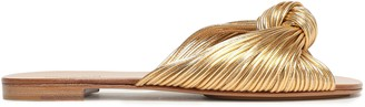 Michael Kors Metallic Knotted Leather Slides