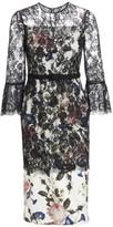 Erdem Luceila Floral Lace-Overlay Pencil Dress