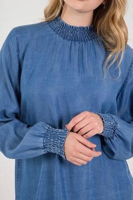 Belle-Modelle - Denim Blue Long Sleeve Blouse