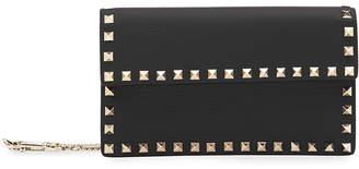 Valentino Garavani Rockstud Leather Continental Wallet on Chain