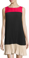 Adrianna Papell Pleated Colorblock Shift Dress, Black/Flare