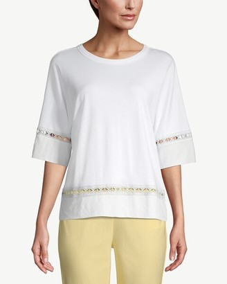 Chico's Elbow-Sleeve Lace-Trim Tee