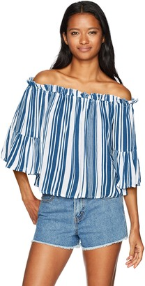 Derek Heart Women's Off The Shoulder Stripe Ruffle Cropped Blouse