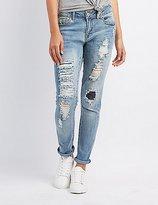 Charlotte Russe Distressed Skinny Boyfriend Jeans