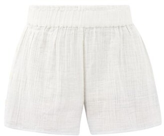 Anaak Aria Buttoned-side Dip-dyed Cotton Shorts - White Multi