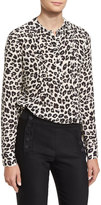 Veronica Beard Harmony Silk Animal-Print Pintucked Blouse, White/Brown