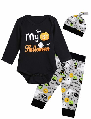 Lorjuly Baby Boys Girls My First Halloween Outfit Set Pumpkin Romper Ghosts Pants Hat (Black 6-12 Months)