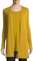Eileen Fisher Long Straight Wool Crepe Cardigan, Petite