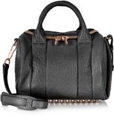 Alexander Wang Rockie Black Pebbled Leather Satchel w/Rose Gold Studs