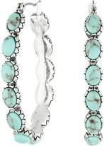 Lucky Brand Oblong Turquoise Inlay Hoop Earring Earring