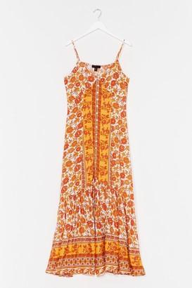 Nasty Gal Womens Meadow Profile Floral Maxi Dress - Orange - 10