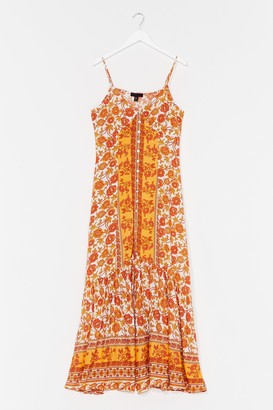 Nasty Gal Womens Meadow Profile Floral Maxi Dress - Orange
