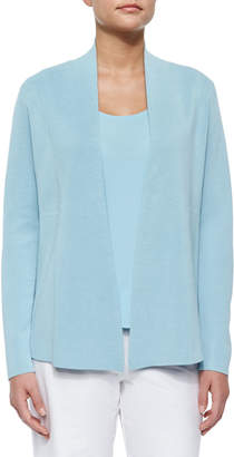 Eileen Fisher Plus Size Silk-Blend Interlock Open-Front Jacket