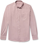 Officine Generale Lipp Slim-Fit Garment-Dyed Brushed-Cotton Twill Shirt