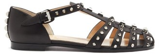 Christian Louboutin Loubiclou Studded Caged Leather Sandals - Black