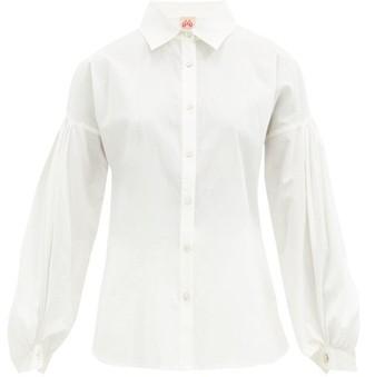 Le Sirenuse Positano Le Sirenuse, Positano - Tiger Bubble Gum Balloon-sleeve Cotton Shirt - White