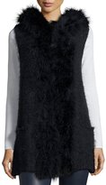 Neiman Marcus Hooded Knit Feather-Trim Vest, Blue