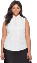 ELOQUII Plus Size Embroidered Organza Floral Top