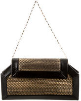 Pierre Hardy Patent Leather-Accented Snakeskin Shoulder Bag