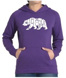 LA Pop Art Women's Word Art Hooded Sweatshirt -California Bear