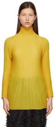 Issey Miyake Yellow Wooly Pleats Turtleneck