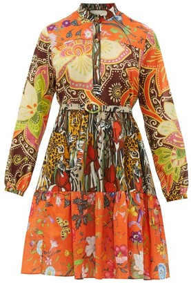Gucci Jungle Cat And Floral-print Cotton-muslin Dress - Womens - Brown Multi