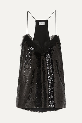 CAMI NYC The Racer Lace-trimmed Sequined Crepe Camisole - Black
