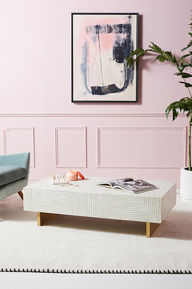 Anthropologie Savi Striped Inlay Coffee Table By in Grey Size S