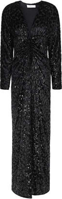 Racil Rita Ruched Metallic Devore-velvet Maxi Dress