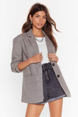 BEIGE Nasty GalNasty Gal Womens Look What I Houndstooth Oversized Wool Blazer L,