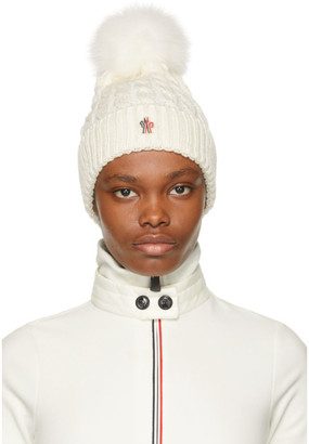 MONCLER GRENOBLE White Fur Pompom Beanie