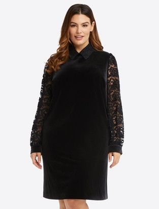 Draper James Lace & Velvet Collared Shift Dress