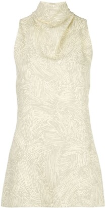 Proenza Schouler Palm Printed Knotted Top