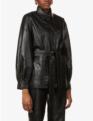 Samsoe & Samsoe Vestine puffed-sleeve faux-leather jacket