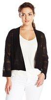 Ronni Nicole Women's Plus Size 3/4 Sleeve Horizontal Stripe Crochet Shrug