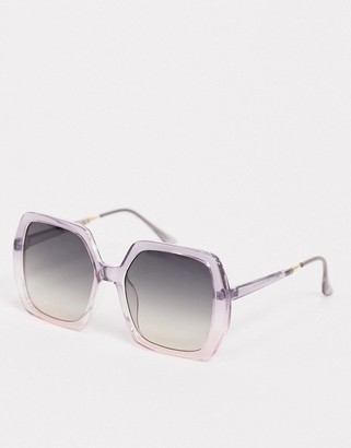 ASOS DESIGN 70's oversized square sunglasses in purple fade
