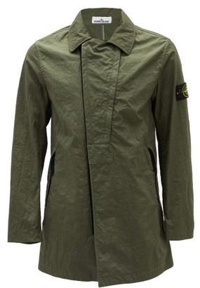 Stone Island Logo-patch Twill Raincoat - Green