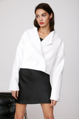 Nasty Gal Womens Nice Ride Faux Leather Cropped Jacket - White - 4, White