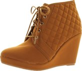 Static Footwear Forever Womens Olesia-27 Fashion Lace Up Quilted Ankle Wedge High Heel Booties Platform
