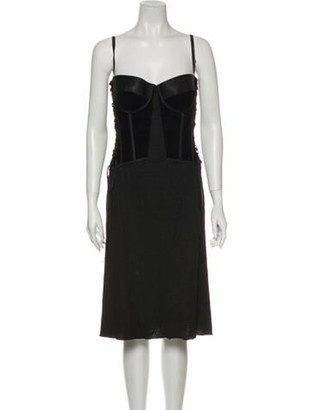 Bottega Veneta Square Neckline Knee-Length Dress Black