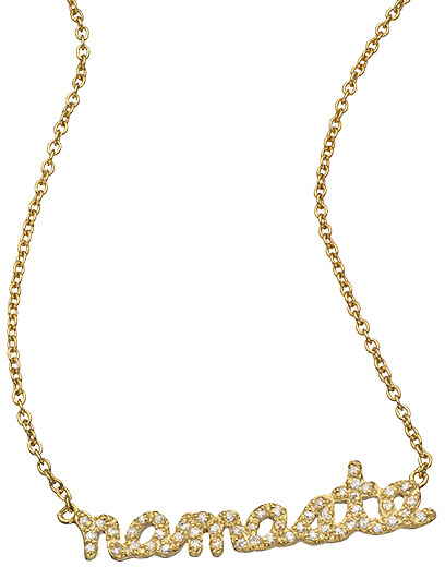 Namaste Sugar Bean Jewelry Gold And Cz Pendant Necklace