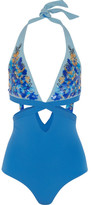 La Perla Floral Rhapsody Sequin-embellished Cutout Halterneck Swimsuit - Blue