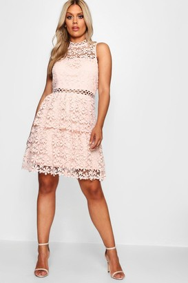 boohoo Plus Lace Tiered Skater Dress