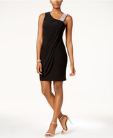 Betsy & Adam B&A by Embellished Draped Sheath Dress