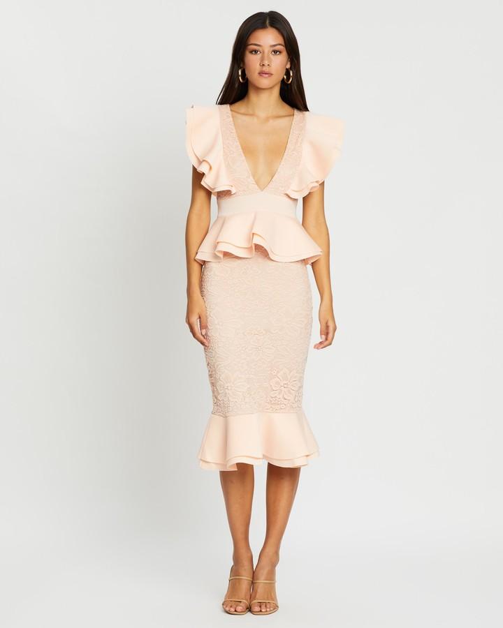Missguided Scuba Lace Ruffle Midi Dress
