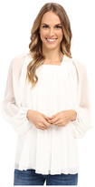 Adrianna Papell Crinkle Chiffon Pleated Blouse