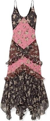 Michael Kors Asymmetric Floral-print Silk-crepe And Georgette Maxi Dress