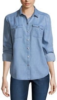 Liz Claiborne Long Sleeve Button-Front Shirt-Talls