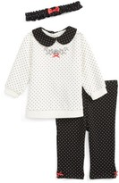 Little Me Infant Girl's Dot Tunic, Leggings And Headband Set
